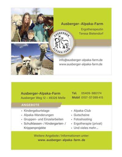 Visitenkarte – Alpaka-Farm-Ausbergen