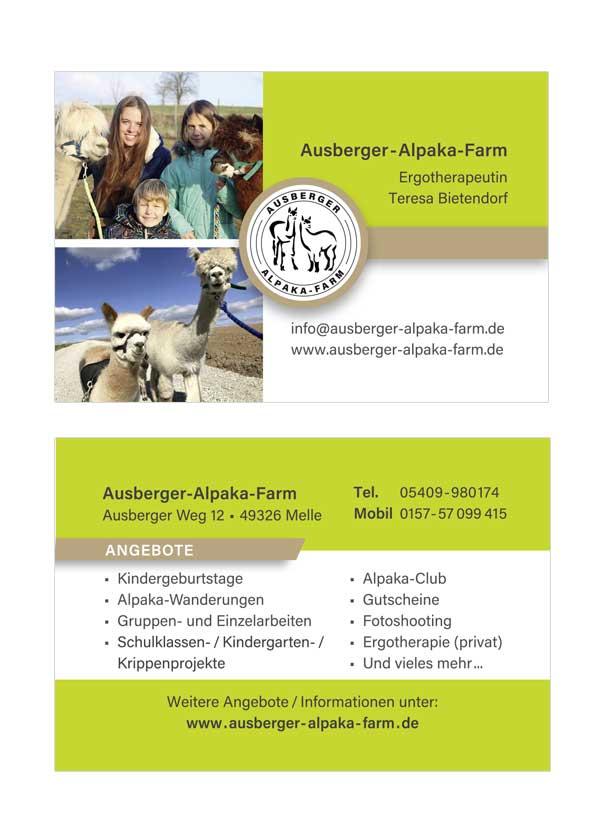 Visitenkarte der Ausberger Alpaka Farm