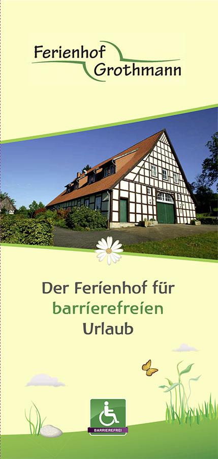 Flyer Hof Grothmann – barrierefreier Urlaub im Tecklenburger Land