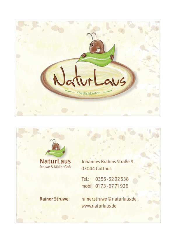 Visitenkarte der Firma NaturLaus