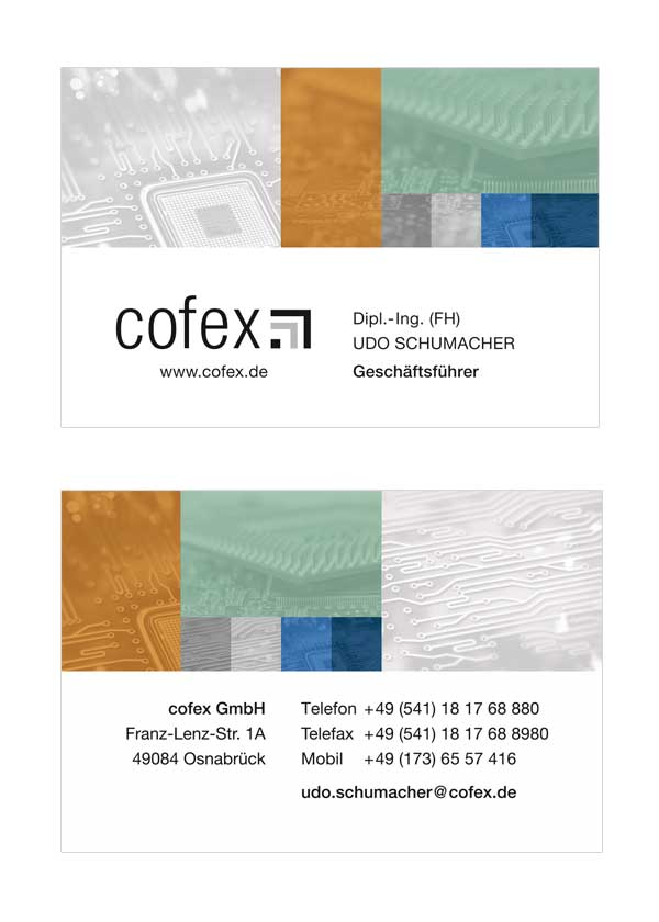 Visitenkarte der Firma cofex GmbH in Osnabrück