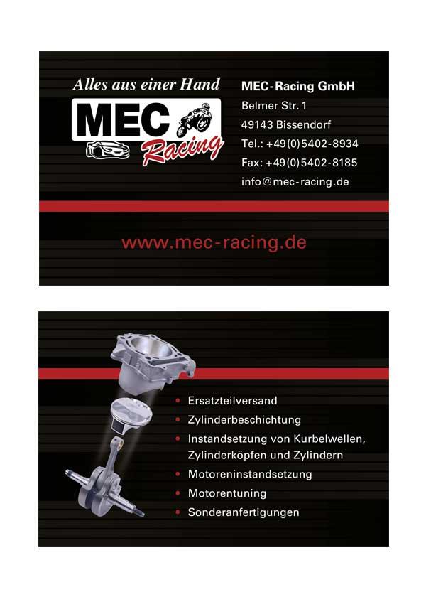 Visitenkarte der Firma MEC-Racing in Wulften