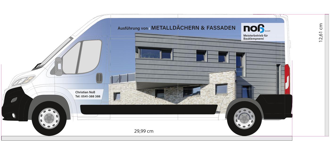 Entwurf Seitenansicht einer Vollflächigen Transporter-Beschriftung der Firma Noß GmbH aus Voxtrup