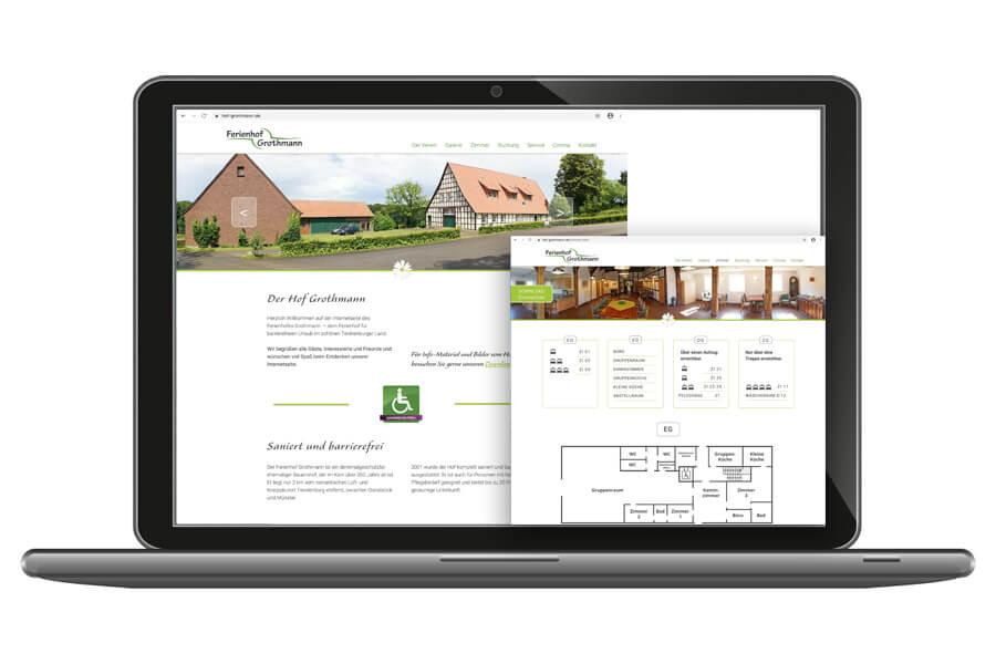 Webpräsenz vom Hof Grothmann bei Tecklenburg – Barrierefreier Urlaub