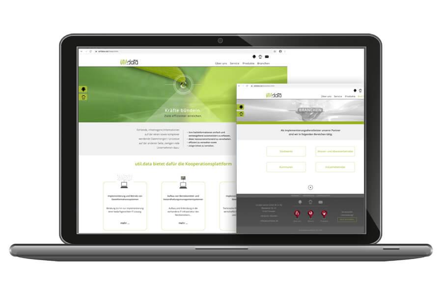 Webpräsenz der Firma util.data Service GmbH & Co. KG aus Dresden